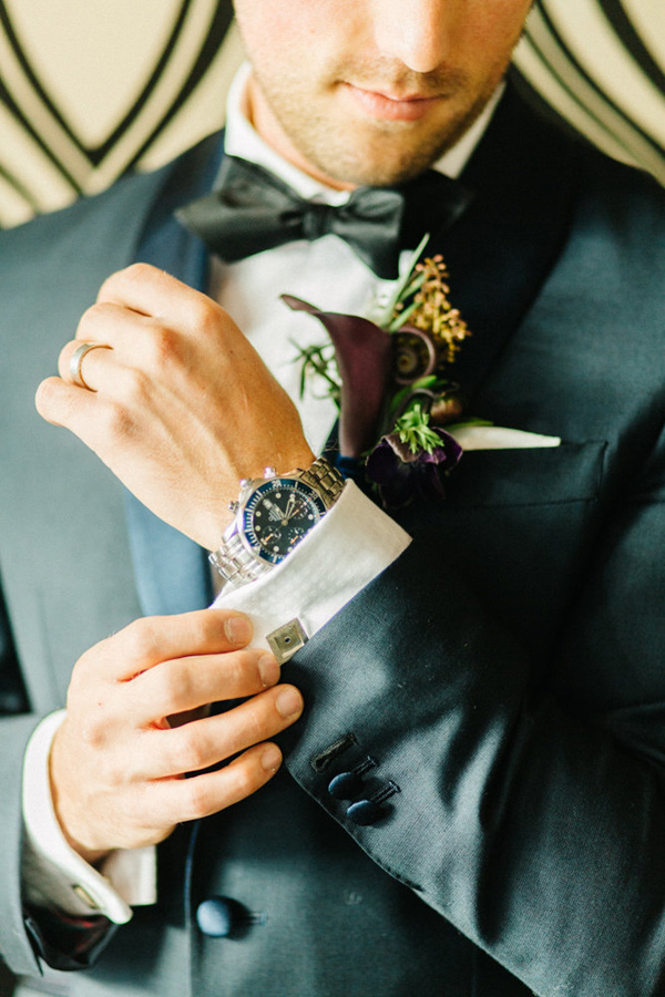 groom attire - photo by Emily Sacco http://ruffledblog.com/glam-holiday-wedding-inspiration