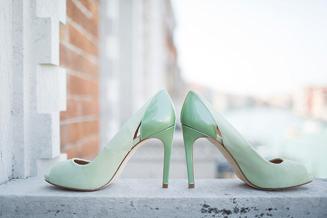 Mint wedding shoes | Tyler Rye and My Italian Wedding Planner | see more on: http://burnettsboards.com/2015/11/mint-pink-styled-shoot-venice/