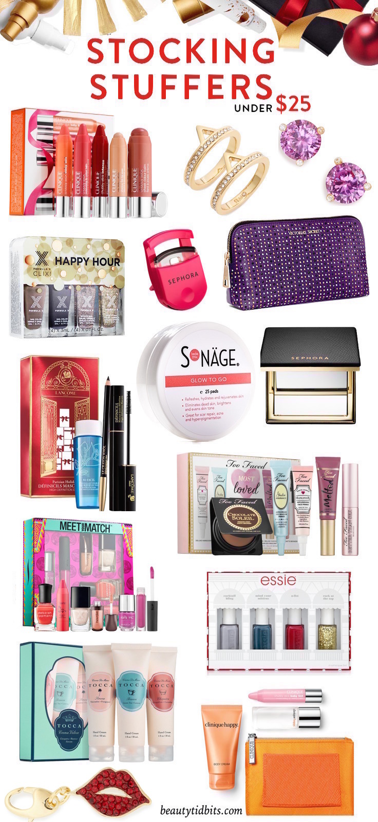 Need some ideas to stuff those stockings? Here are 25 chic beauty & style picks under $  25 that are sure to please!