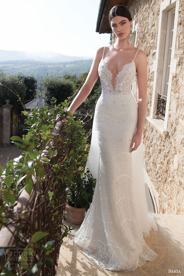 berta bridal 2015 lace sheath wedding dress sexy plunging deep v neckline embellished straps