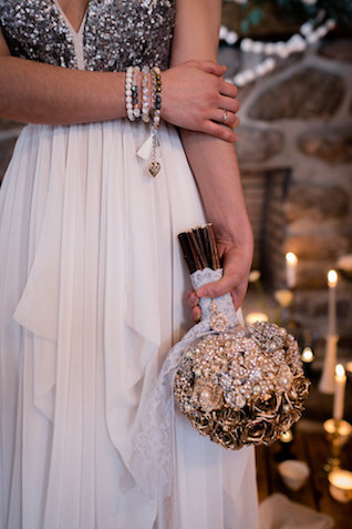 Brooch bouquet | Lovely Peonies Photography | see more on: http://burnettsboards.com/2015/12/cozy-winter-wedding-knit-details/