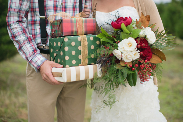 holiday presents - photo by Janeane Marie Photography http://ruffledblog.com/christmas-tree-farm-inspiration-shoot