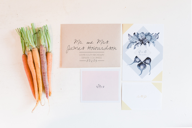 Organic farm wedding invitations | Chris Loring Photography | see more on: http://burnettsboards.com/2015/12/roots-shoot-an-elegant-organic-farm-wedding/