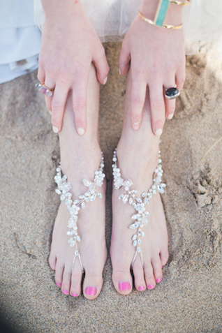 Crystal anklet | Laura Power Photography and @thewedbazaar | see more on: http://burnettsboards.com/2015/12/gem-themed-wedding-castle/