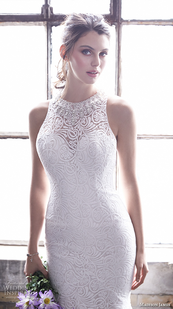 madison james fall 2015 bridal halter jewel neck sleeveless lace embroidery beautiful trumpet mermaid wedding dress style mj169