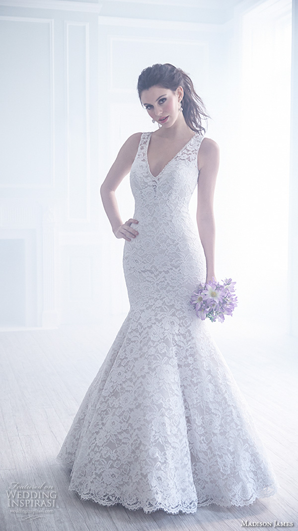 madison james fall 2015 bridal lace strap sleeveless v neckline lace embroidery trumpet beautiful mermaid wedding dress style mj171