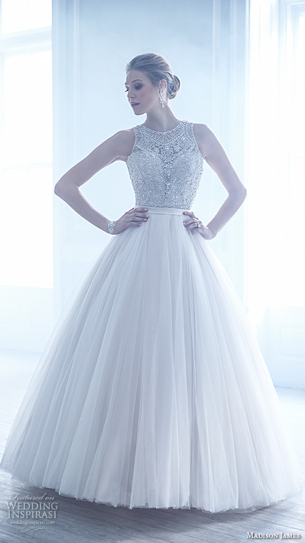 madison james fall 2015 bridal sleeveless jewel neckline beaded crystal embroidery tulle skirt beautiful a line ball gown wedding dress style mj170