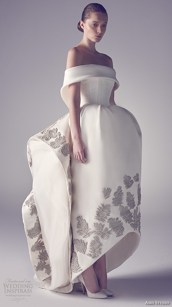 ashi studio couture 2015 off the shoulder bell shaped flounce wedding gown with fern embroideries at trim
