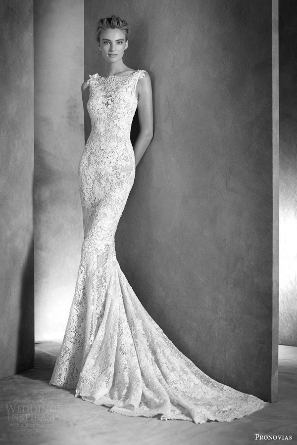 atelier pronovias 2016 haute couture bridal ilari sleeveless lace guipure gemstone mermaid wedding dress