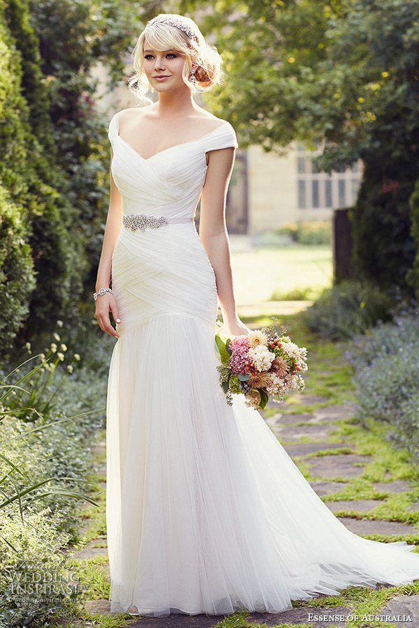 essense of australia wedding dress 2015 bridal cap sleeves off the shoulder neckline tulle trumpet gown d1802