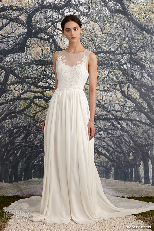 nicole miller spring 2016 bridal scoop neckline sleeveless flora embroidered sheath wedding dress savannah