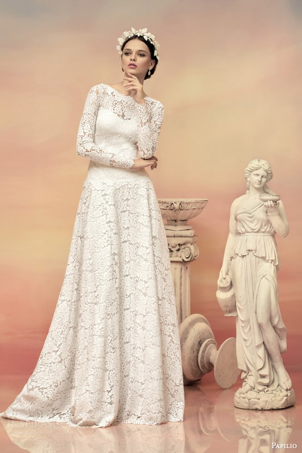 papilio bridal 2015 theodora long sleeve lace wedding dress illusion back