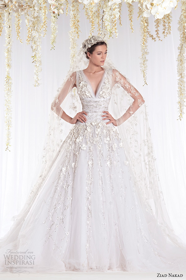 ziad nakad 2015 haute couture bridal wedding dress leaf applique plunging v neckline a line gown