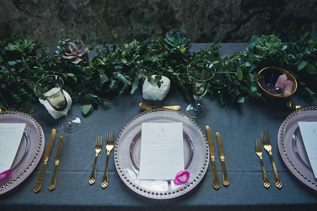 Gem-themed wedding place setting | Laura Power Photography and @thewedbazaar | see more on: http://burnettsboards.com/2015/12/gem-themed-wedding-castle/