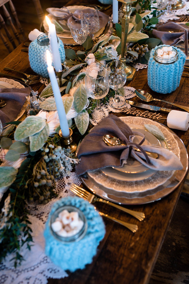 Cozy winter wedding place setting | Lovely Peonies Photography | see more on: http://burnettsboards.com/2015/12/cozy-winter-wedding-knit-details/
