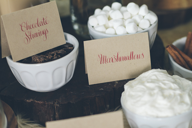 Hot chocolate station | Lauryn Ann Photography | see more on: http://burnettsboards.com/2015/12/ski-themed-winter-wedding/