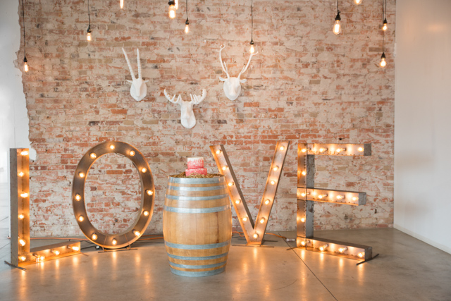 LOVE marquee lights | Stephanie Ramsey and Melissa Malouf | see more on: http://burnettsboards.com/2015/12/christmas-wedding-ideas/
