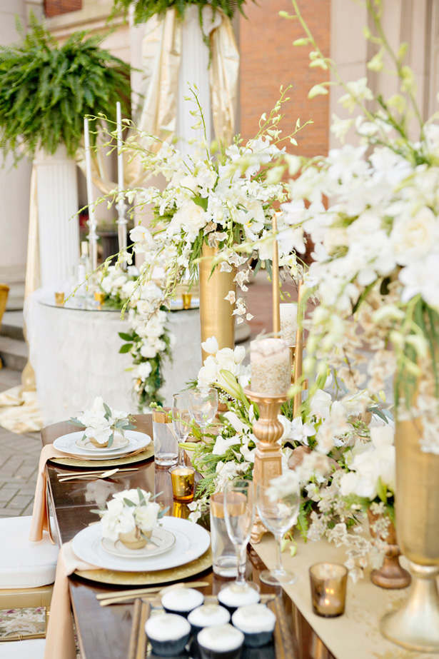 White and Gold Wedding Tablescape - Andie Freeman Photography