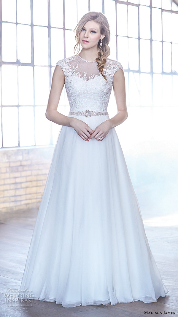 madison james fall 2015 bridal cap sleeves illusion jewel neckline sweetheart cutout lace embroidered bodice beautiful a line wedding dress style mj167