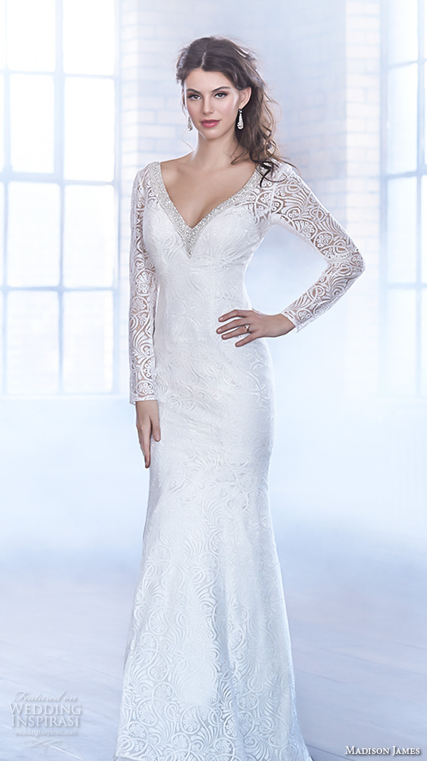 madison james fall 2015 bridal long lace sleeves v neckline lace embroidered elegant sheath wedding dress style mj162
