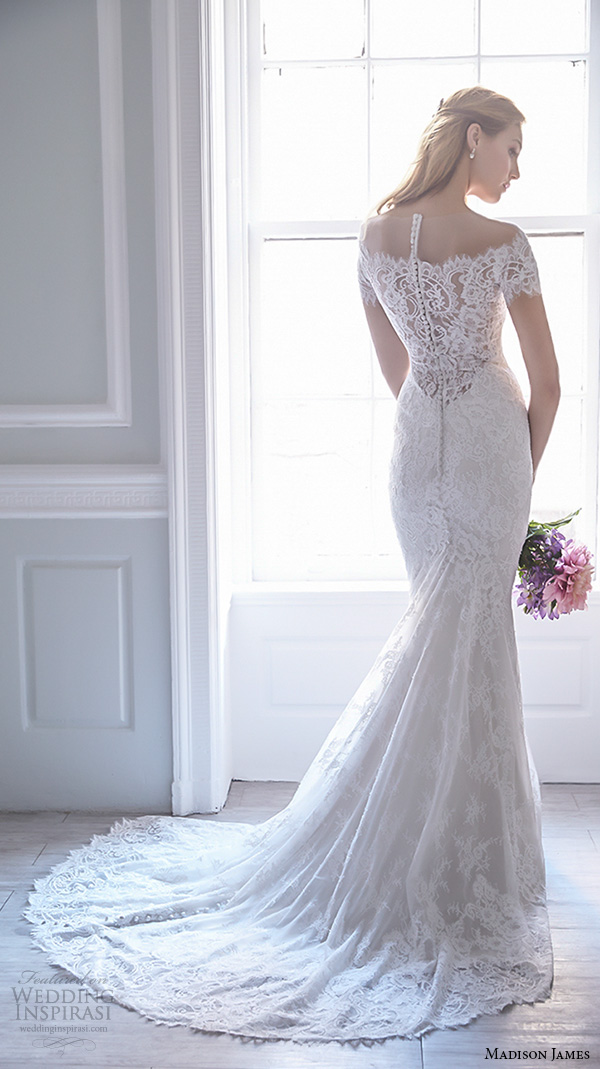 madison james fall 2015 bridal off the shoulder lace neckline lace embroidery trumpet mermaid wedding dress style mj166