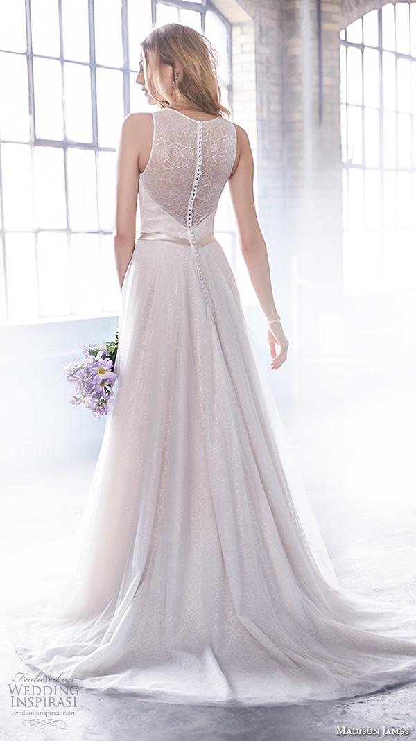 madison james fall 2015 bridal sleeveless halter neckline sweetheart cutout pretty modified a line wedding dress style mj163