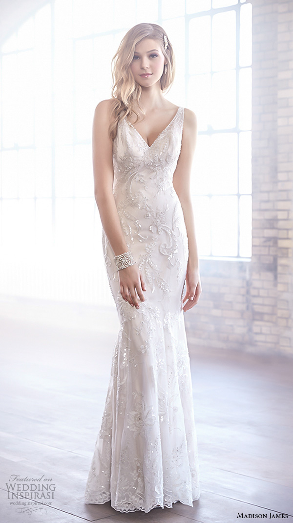 madison james fall 2015 bridal sleeveless v neckline metallic embroidery fit to flare beautiful sheath wedding dress style mj164