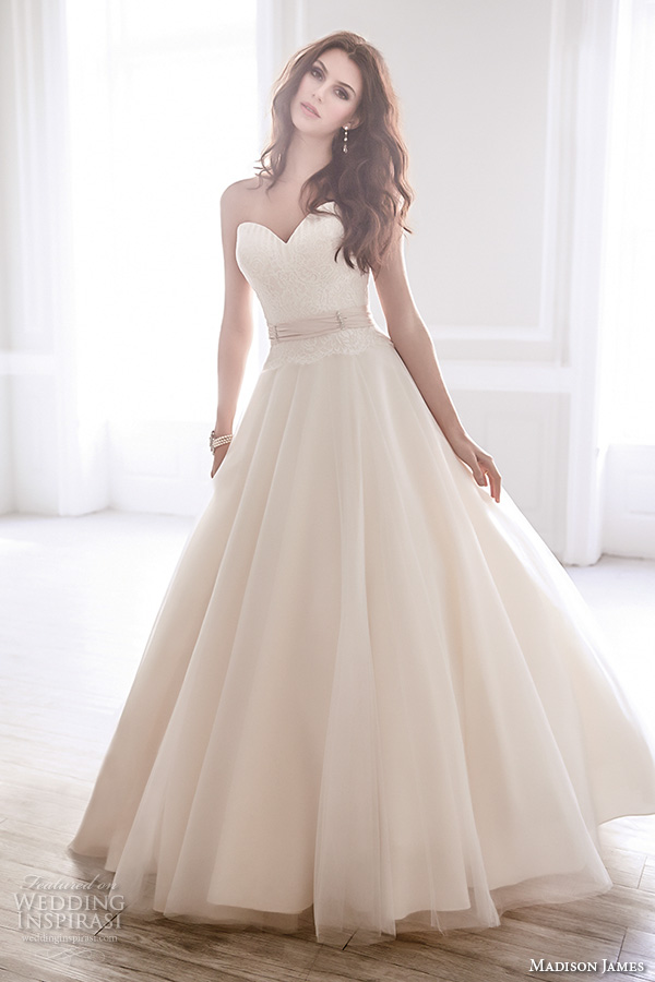 madison james fall 2015 bridal strapless sweetheart neckline champaign color romantic beautiful a line ball gown wedding dress style mj165