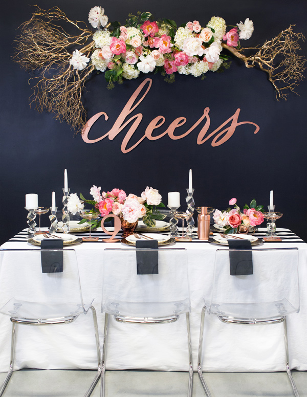 cheers wedding table - photo by Ben Q Photography http://ruffledblog.com/best-of-2015-wedding-receptions