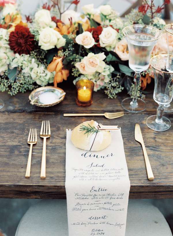 fall wedding place setting - photo by Austin Gros http://rufflebdlog.com/best-of-2015-wedding-receptions