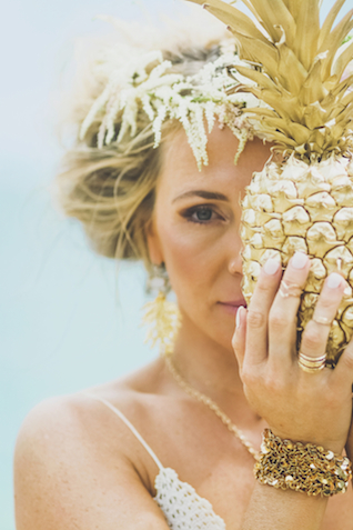 Gold spray painted pineapple | Angie Diaz Photography | see more on: http://burnettsboards.com/2015/12/boho-glam-beach-anniversary-shoot-maui/