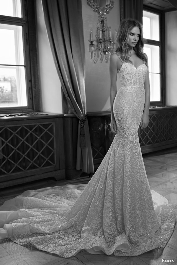 berta fall 2015 mermaid wedding dress sweetheart neckline illusion double row bead straps
