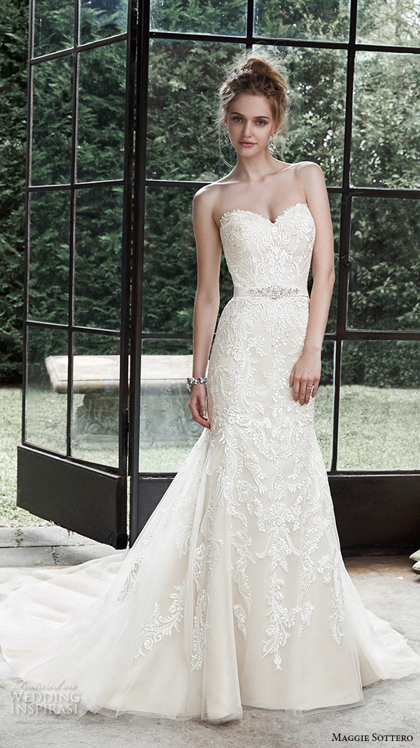 maggie sottero fall 2015 wedding dresses beautiful elegant fit flare gown strapless sweetheart neckline embroidered winstyn