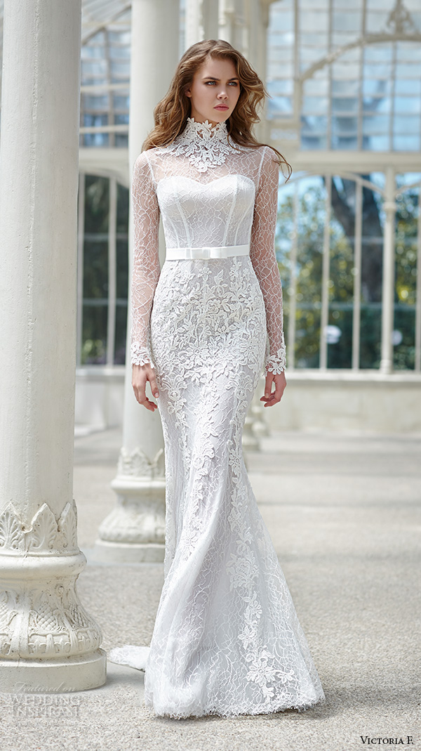 victoria f 2016 bridal high neck lace sheer long sleeves sheath wedding dress