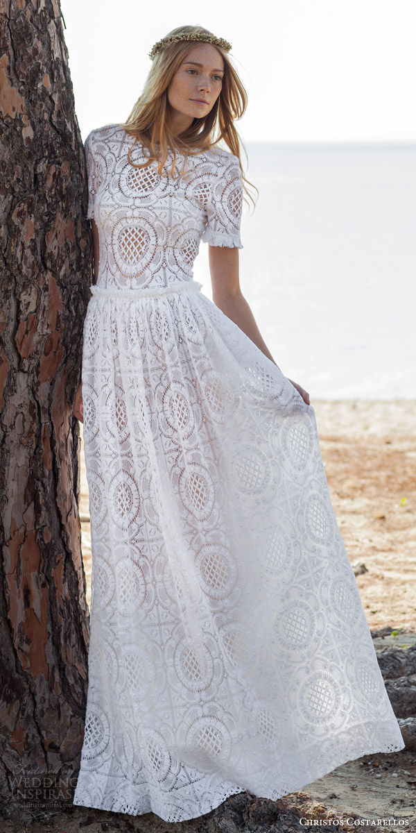 christos costarellos bridal spring 2016 romantic bohemian lace wedding dress short sleeves