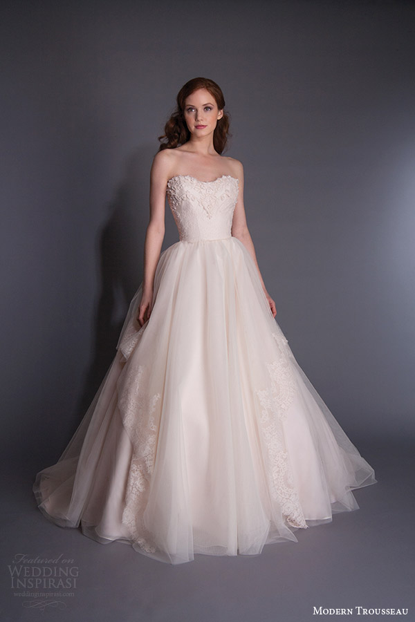 modern trousseau spring 2016 evelie strapless pale pink wedding dress sweetheart neckline