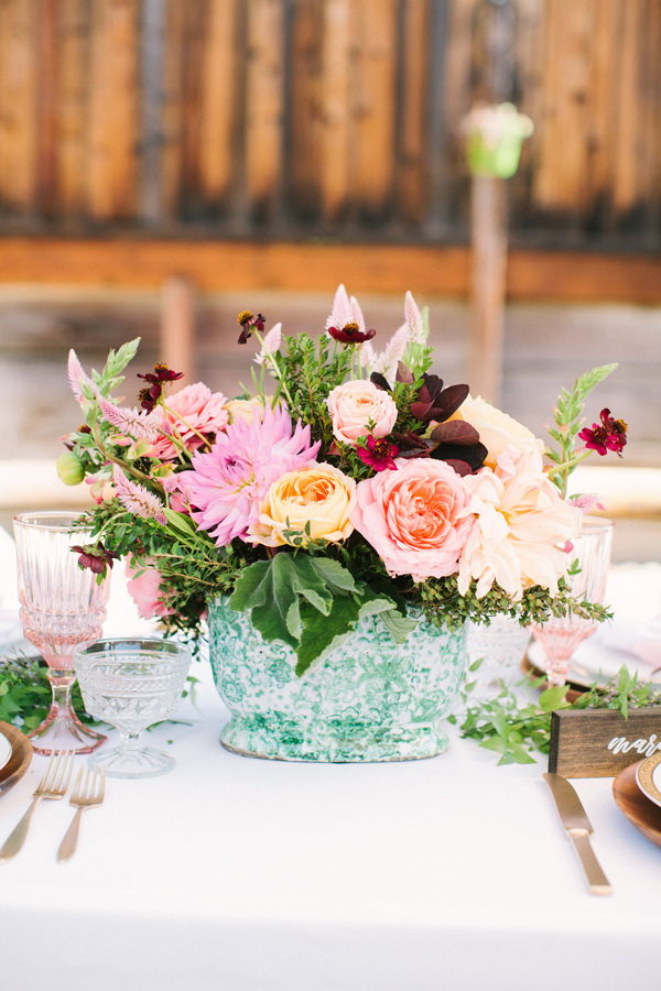 pink floral arrangement - photo by Yasmin Sarai Photography http://ruffledblog.com/rose-inspired-bridal-shower