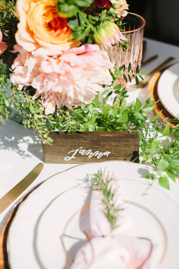 wooden place card - photo by Yasmin Sarai Photography http://ruffledblog.com/rose-inspired-bridal-shower