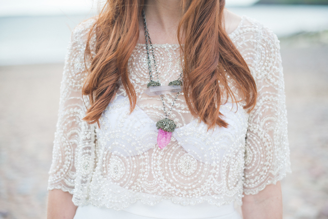 Pink quartz necklace | Laura Power Photography and @thewedbazaar | see more on: http://burnettsboards.com/2015/12/gem-themed-wedding-castle/