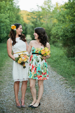 Retro bride and bridesmaid | Kristyn Hogan and Cedarwood Weddings | see more on: http://burnettsboards.com/2015/12/yellow-metallic-mod-wedding/