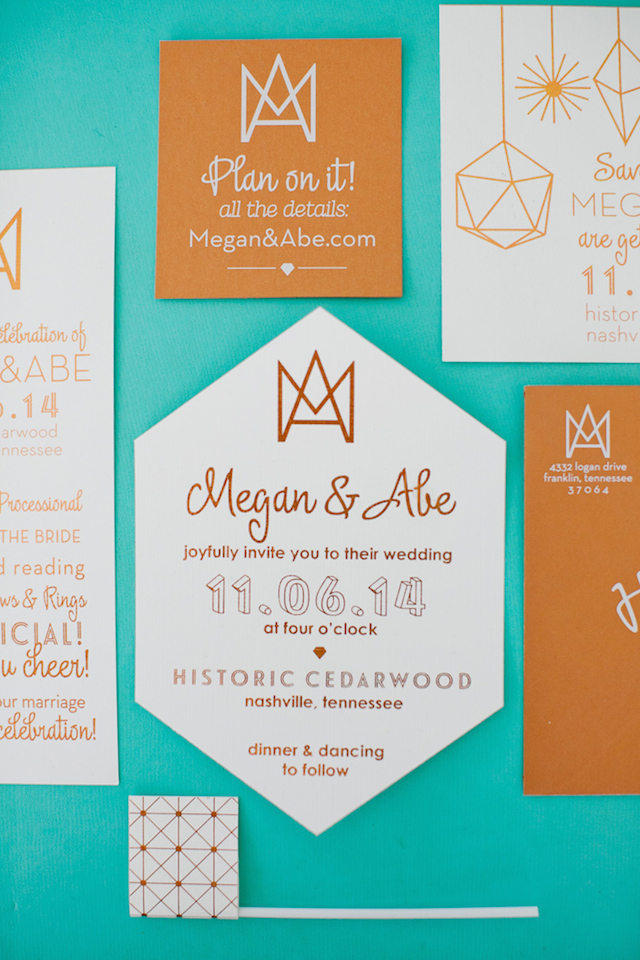 Geometric wedding invitations | Kristyn Hogan and Cedarwood Weddings | see more on: http://burnettsboards.com/2015/12/yellow-metallic-mod-wedding/