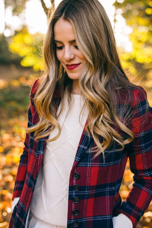 cute outfits with plaid coats 5
