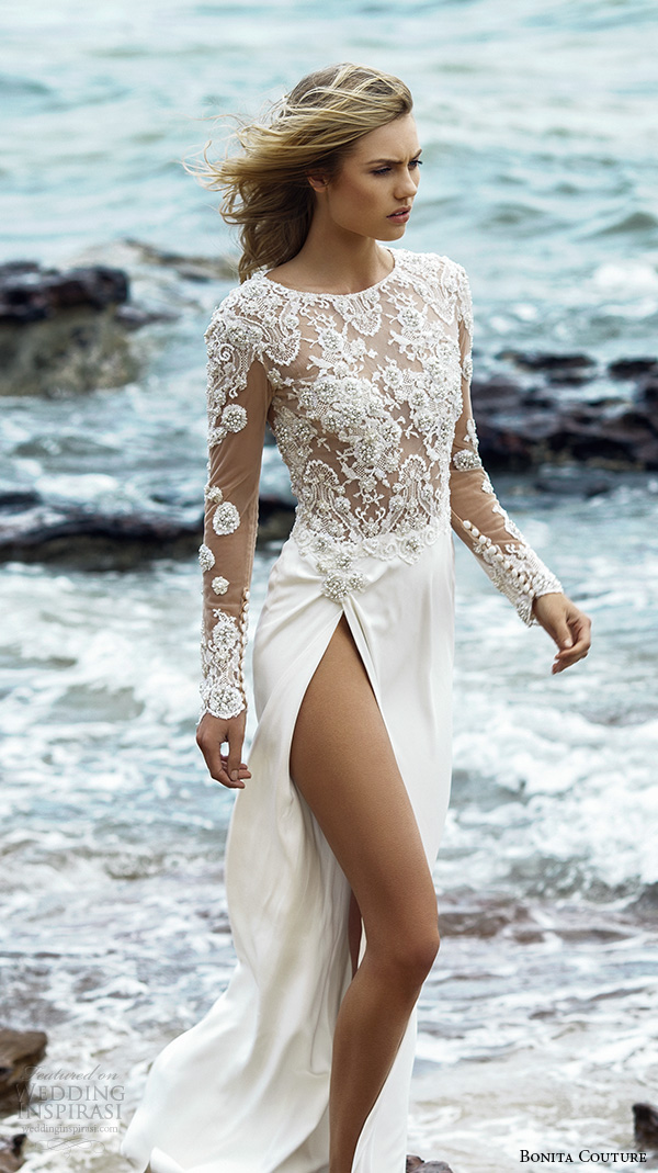 bonita couture 2015 wedding dresses sheer illusion embroidered long sleeves jewel neckline crystal embroidery bodice high split goregous dress crystal