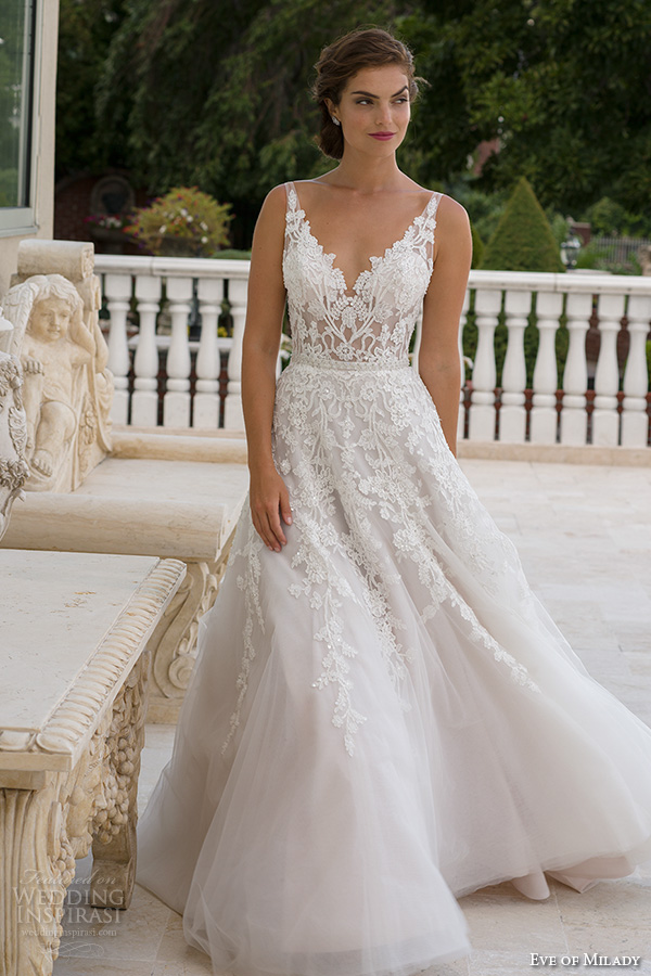 eve of milady boutique spring 2016 bridal v neckline lace embroidered bodice beautiful a line wedding dress style1556