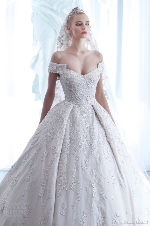 nicolas jebran spring 2015 couture wedding dress off shoulder sleeves ball gown silhouette bodice close up