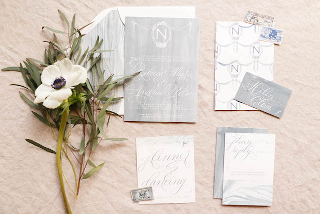 Subtle nautical wedding invitations | V.A. Photography | see more on: http://burnettsboards.com/2015/12/eastern-shore-wedding/