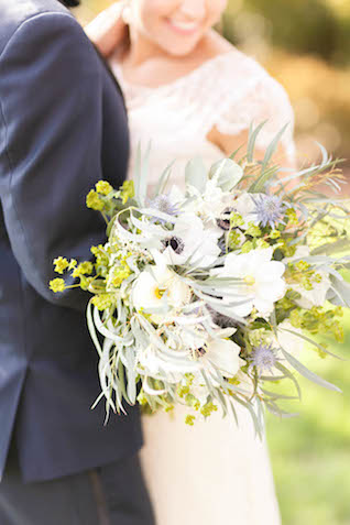 Blue, white, and green bridal bouquet | V.A. Photography | see more on: http://burnettsboards.com/2015/12/eastern-shore-wedding/