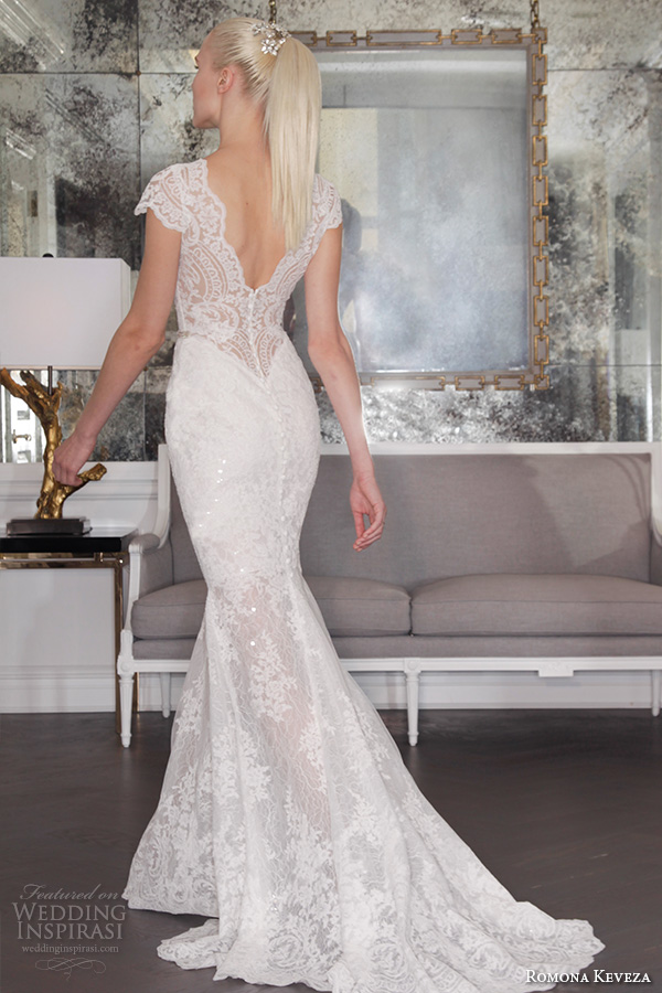 romona keveza fall 2016 luxe bridal deep plunging v neckline cap sleeves lace strap beautiful sheath wedding dress rk6457 back view