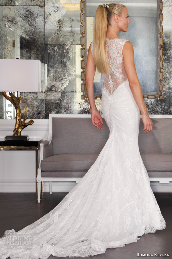 romona keveza fall 2016 luxe bridal deep v neck sleeveless fit to flare beaded and lace mermaid wedding dress with train rk6456