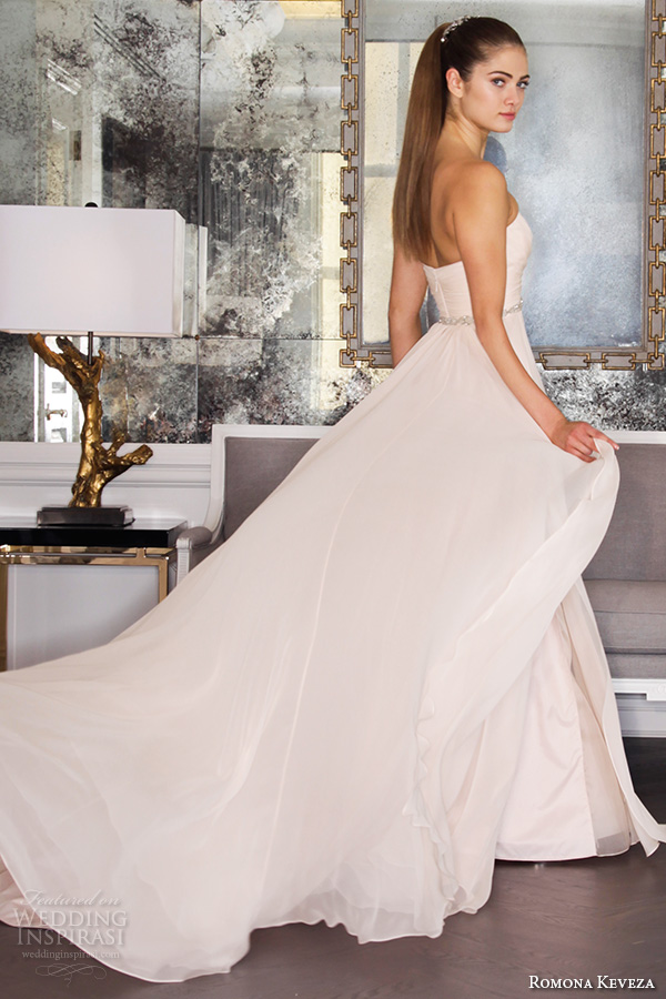 romona keveza fall 2016 luxe bridal strapless sweetheart neckline blush color pink a line romantic wedding dress rk6455
